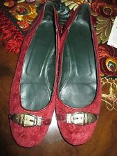 PRETTY WOMENS GUCCI VELVET SIGNATURE GG SILVER BUCKLE BALLET STYLE SHOES 7.5B