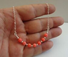 925 STERLING SILVER LADIES NECKLACE PENDANT W/ RED CORAL GEMSTONES/ 18'' LONG