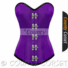 Full Steel Boned Long Torso Overbust C Hook Bustier Purple Satin Corset Korset
