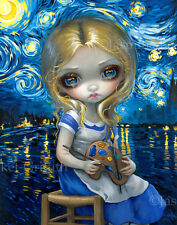 Jasmine Becket-Griffith wonderland art print SIGNED Alice in a Van Gogh Nocturne