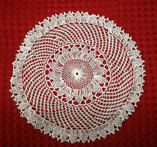 """SUPERB VINTAGE HAIRPIN LACE DOILY in WHITE  7"""""""