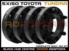 "4 Pc Toyota Tundra 1.25"" Thick Black Hub Centric Wheel Spacers Adapters 14x1.5"