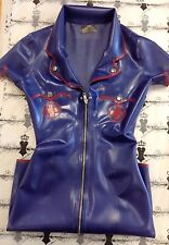 +R769 *AZURE BLUE* 12 Latex Nurse DRESS UNIFORM FETISH RRP £165