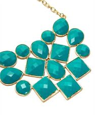 Large Turquoise Bib Necklace Multi Faceted Stone's Framed In Gold