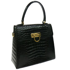 Authentic Salvatore Ferragamo Gancini Hand Bag Black Crocodile Skin GOOD AK13226