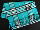 100% Cashmere Winter Scarf Scarve Scotland Plaid Check Turquoise Black White New