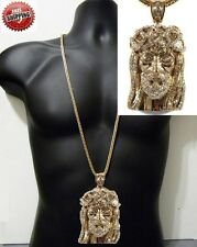 "Jesus Piece Pendant 14k Gold Finish Hip Hop Iced Out + 36"" Franco Chain Crystal"
