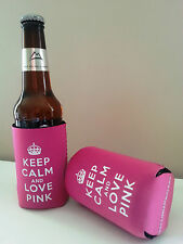 Great Fun/Birthday Gift Keep Calm & Love Pink Bottle/Can Cooler B2G1 Free!