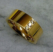 TITANIUM Gold Plated Fashion RING with 3 Round CZ stones, size 7 - in Gift Box