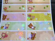 50 Rilakkuma Personalized Waterproof Name Stickers Label Sparkle Decals