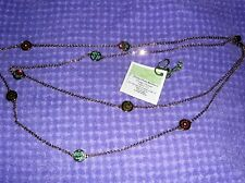 "VERA BRADLEY FLOWER SHOWER 32"" DAINTY CHAIN LAYERED GOLD TONE NECKLACE NWT"