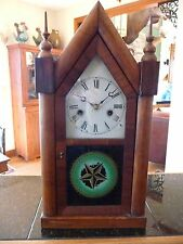 Fantasic Vintage New Haven Steeple Clock - works! Reverse paint