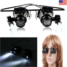 20X Watch Repair Dental Loupes Magnifying Glass LED Spectacle Diopter Magnifier