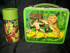 VINTAGE 1966 Tarzan Metal Lunch Box With Matching Steel Glass Thermos