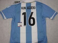 SERGO KUN AGUERO  Hand Signed Jersey Argentina + PSA DNA COA BUY GENUINE
