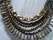 NWT Decree Cluster Necklace-Dull & Shiny Gold Beads, 6 Strands, Egyptian Style