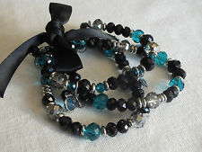 Beautiful Stretch Bracelet Silver Tone Black Turquoise Set 3 Tied Black Bow WOW