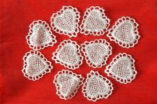 10 Pieces Vintage Guipure Lace White Hearts Craft Applique NEW
