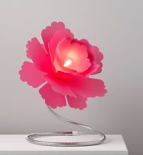 LARGE Pink Flower Adjustable Silver Metal Stem Table Lamp NEW Girls Bedroom BNIB