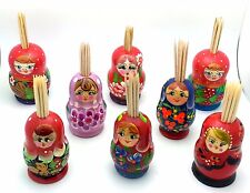 One (1) Russian TOOTHPICK HOLDER wood Hand Carved Hand Painted Nesting Doll