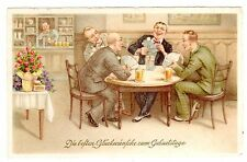 POSTCARD GERMAN MEN PLAYING CARDS BIRTHDAY GREETIING ARTIST-SIGNED