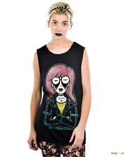 TOO FAST GOTHIC GOING POSTAL DARIA PSYCHOBILLY ROCKABILLY ROCKER EMO TOP SHIRT L