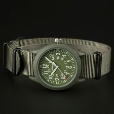 INFANTRY Mens Quartz Wrist Watch Luminous Dial Military Army Sport Green Canvas
