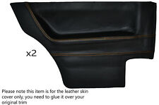 YELLOW STITCH 2X REAR DOOR CARDS LEATHER SKIN COVERS FITS VW GOLF MK1 COUPE 3 DR