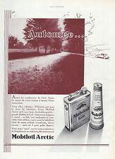 PUBLICITE  MOBILOIL ARCTIC MOTOR OIL AD BIDON D' HUILE MOBILOIL  1934