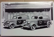 "12 By 18"" Black & White PICTURE 1936 Ford Sedan Delivery Sweet Caporal Cigarette"