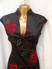 SEXY Oriental Chinese Black Red Elegance LONG dress 8 10