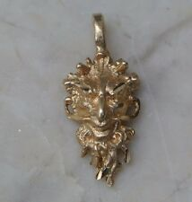 14K Celtic God Cernunnos Charm Solid Yellow Gold Pendant  RARE HANDCRAFTED LOOK