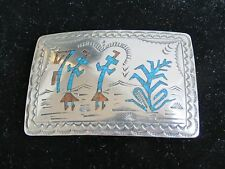 VTG Silver Turquoise Coral Inlay Yei Blue corn Belt Buckle Wilson Carolyn Begay