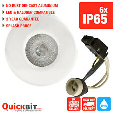 WHITE BATHROOM GU10 DOWNLIGHTS ALSO FOR SOFFIT LED OR HALOGEN COMPATIBLE X 6