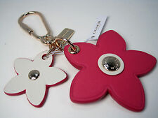 NWT Coach Leather Flower Charm Key Chain Ring Purse Bag Fob F 65843 Gold~Pink