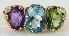 SUBLIME 9K NATURAL LARGE AMETHYST BLUE TOPAZ & PERIDOT RING