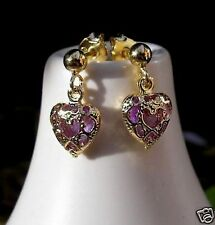 GENUINE 9CT GOLD GF AMETHYST HOOP EARRINGS THESE ARE STUNNING...stock ref 223009