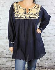 SMALL PEASANT BOHO HAND EMBROIDERED MEXICAN BLOUSE TOP 100% COTTON OAXACA