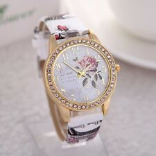 Ladies Fashion Floral White Gold Multi-Colour Vintage Print Leather Strap Watch