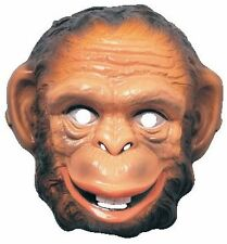 Monkey Mask Plastic Front Face Animal Mask Chimp Zoo Circus Child to Adult Size