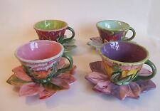 Set of 4 Tracy Porter Citrine Collection Tea Cups w/ Matching Saucers / Plates