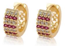 18 k Gold Plated Jewellery Small Girls Women Pink Hoops Earrings E713