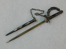 VINTAGE STERLING SILVER MILITARY OFFICER MINIATURE SWORD PIN HEAD BROOCH