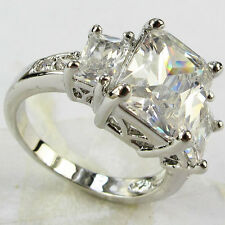 Lady/Women's Silver Filled White Sapphire Crystal Wedding Ring Gift size  6