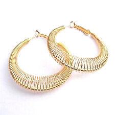 """Gold Spring Hoop Coil Round Earrings 2"""" Diameter 18K Plated  Lead Nickel Free"""