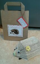 HEDGEHOG FOLDED BOOK ART MEMO / LETTER / RECEIPT HOLDER / NOVELTY ORNAMENT & BAG