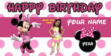 "Birthday banner Personalized ""FREE MNNIE MOUSE"" w/your Photo and Name 6x3 feet"