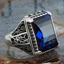 925 Sterling Silver Mens Ring with Sapphire Blue Zirconia Unique KaraJewels