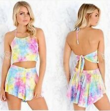 Tie Dye Rainbow Playsuit Outfit Pants Top Hippy Boho Cyber Rave Punk Festival S