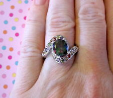 Stunning Mystic Topaz Ring Rainbow Topaz Silver Womens size 5.5